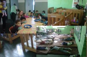 Cenas do almoço, bercinhos e soneca da Creche Leila Atlas, entidade do Centro Social Jardim Privamera